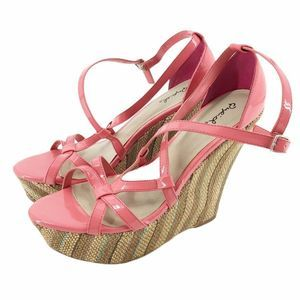 Qupid Crisscross Pink Cork Wedge 9